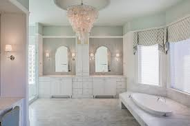 Bathroom Bay Window Herringbone Tile Bathroom Transitional With Bay Window Chandelier