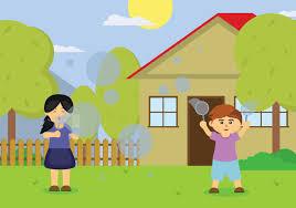 kids blowing bubbles illustration download free vector art