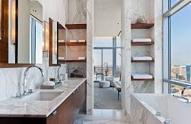 bathroom white marble detailed bathroom features alcove bathtub