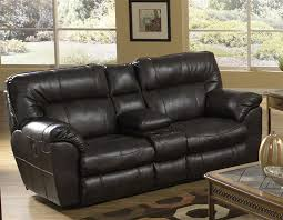 leather reclining console loveseat by catnapper 4049
