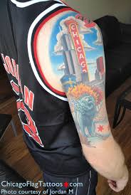 jordan m chicago flag tattoos