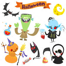 Halloween Pumpkin Icon Cute Cartoon Halloween Characters Icon Set Frankenstein Pumpkin