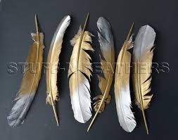 turkey feather painting gold silver feathers large painted real turkey feathers for