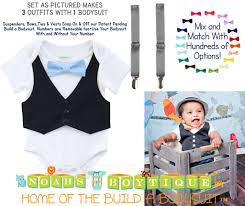 baby boy navy blue vest grey suspenders light blue bow tie