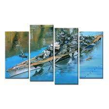 dropshipping 4 pieces big ship painting on canvas home decor art