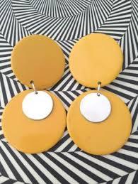 1960 s earrings vintage mod plastic hoop earrings orange brown 1960s jewelry fall