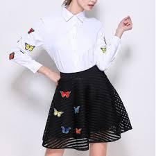 2017 women 2 piece set embroidery butterfly skirt u0026 blouse short