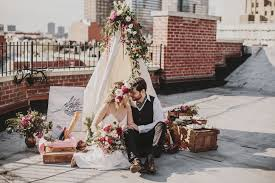 wedding stylist bohemian rooftop afternoon in nyc by royal lace bridal