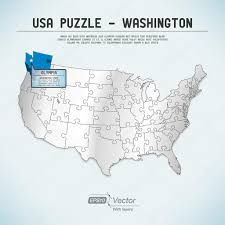 Usa Map Vector by Usa Map Puzzle One State One Puzzle Piece Washington Olympia