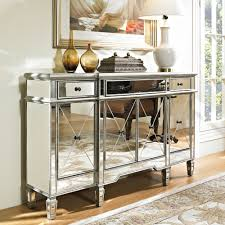 powell mirrored 3 drawer 4 door console 233 695