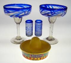 margarita gift set margarita glasses blue swirl gift box set of 2 each with