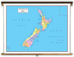 Map New Zealand New Zealand Political Educational Wall Map From Academia Maps