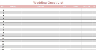 Wedding Guest List Excel Template Wedding Guest Lists Excel Find Word Templates
