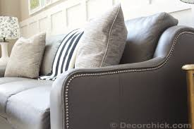 Gray Leather Sofa Lazboy Talbot Sofa In Gray Leather With Nailhead Trim Accent Www