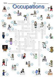esl worksheets for beginners occupations crossword
