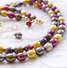 freshwater pearl necklace images Colorful pearl necklace multistrand necklace freshwater pearl jpg