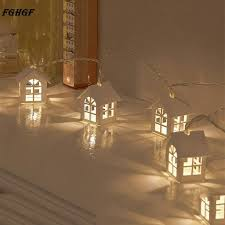 battery powered house lights wooden warm house shaped string light 10 led battery powered