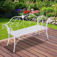 White Metal Chairs Outdoor Outsunny Patio Iron Bench Garden Chair Outdoor Indoor 2 Seater