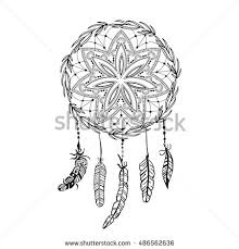 dreamcatcher detailed feathers sketch tattoo boho stock vector