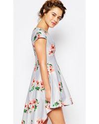 true decadence mini prom dress in allover floral with high low hem