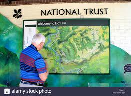 Surrey England Map by Man Looking At Map At Box Hill Near Dorking Surrey England Uk