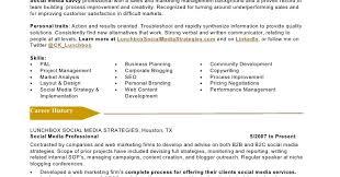 social media marketing resume sample sample resumes