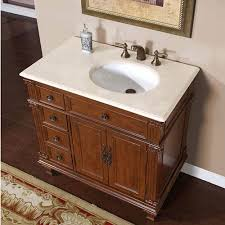 36 inch single sink bathroom vanity with cream marfil marble