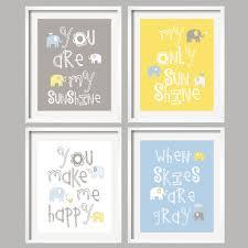 Yellow And Grey Nursery Decor Nursery Blue And Grey Nursery Elephant Nursery Set Of