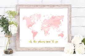 Pink Peonies Nursery Nursery World Map Rose Gold Map Nursery Decor Pink Gold