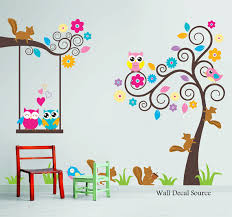 Nursery Wall Decal Birds Owls Squirrels Swirly Tree Wall - Kids rooms decals