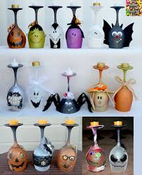 how to make halloween wine glasses candle holders halloween