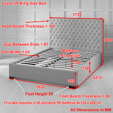 King Size Bed Dimensions In Feet Luxor Upholstered Grey Fabric High Back 5ft King Size Bed