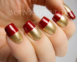 red nail art elegant french tips simple nail art with zoya ziv