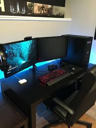 Corner Gaming Computer Desk by Desk Modern Black Gaming Computer Desk Setup With Dual Monitors