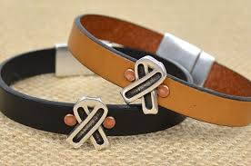 leather ribbon riveted leather ribbon bracelet for men and women choose