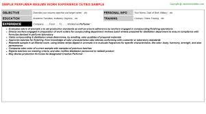 Machinist Resume Examples by Perfumer Resume Sample