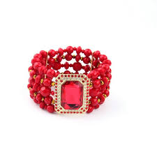 beaded red bracelet images Wholesale chic multi row red beaded statement wide bracelet jpg