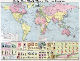 Old World Maps by Large Scale Old Daily Mail World Map Of War And Commerce 1917