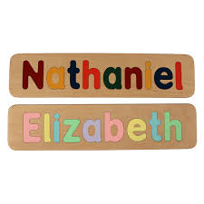 name puzzle raised letters custom personalized wooden