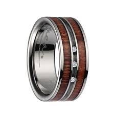titanium wedding rings titanium wedding ring with koa wood inlay polished edges 3