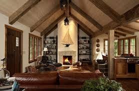 canapé cuir et bois rustique salle de séjour déco salon rustique poutres bois canapé cuir