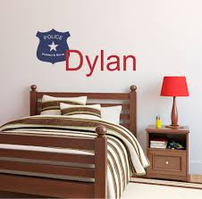 peel stick wall art personalized name police wall decal picture of personalized name police