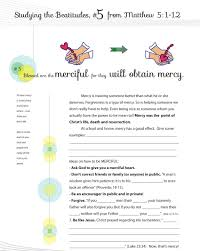 worksheet to teach the 5th beatitude of the christian life from