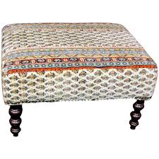 vintage george smith tapestry upholstered ottoman or stool