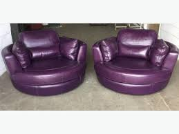 Swivel Cuddle Chair 1100 Thick Heavy Purple Pair Of Leather Swivel Cuddle Chairs We