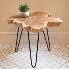 wood slice end table rustic wood slice coffee table on hairpin legs zaza homes