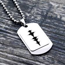 mens personalized necklace sound waves necklace personalized necklace voice recording