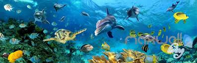 Ocean Wall Murals by 3d Turtle Dophin Tropical Fish Entire Room Wallpaper Wall Mural