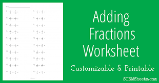 adding fractions answer key adding fractions worksheet stem sheets
