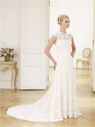 slim a line high neck cap sleeve vintage lace wedding dress with bow